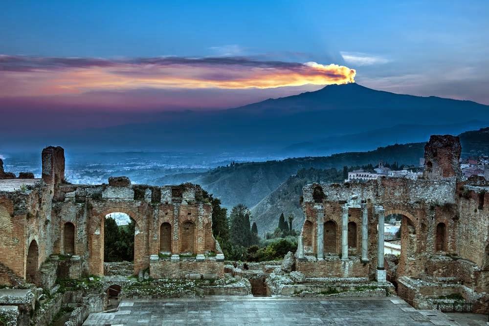 Taormina and Mount Etna, Sicily,Italy