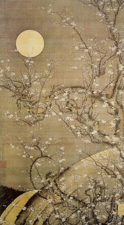 Full moon and flowers, JapaneseArt