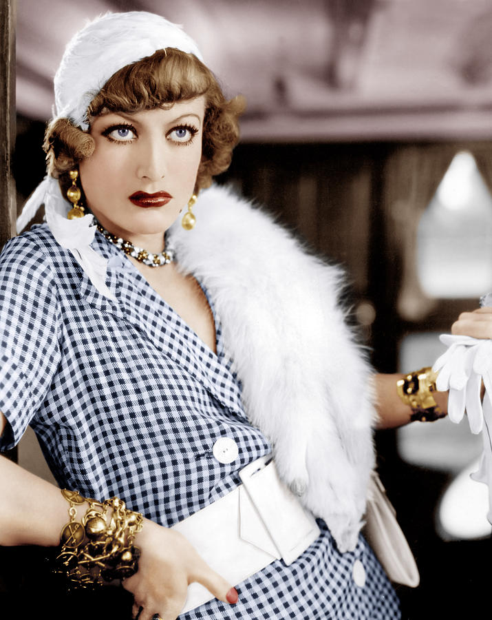 """Colorized picture of Joan Crawford as Miss Sadie Thompson in """"Rain"""", 1932"""