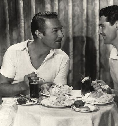 Randolph Scott and Cary Grant in a moment of domestic bliss