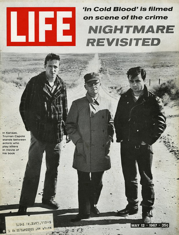 "Truman Capote and actors in the film version of his book ""In Cold Blood"""