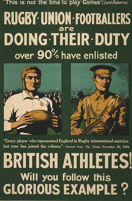 This is not the time to play games – British athlete recruitment poster,WWI