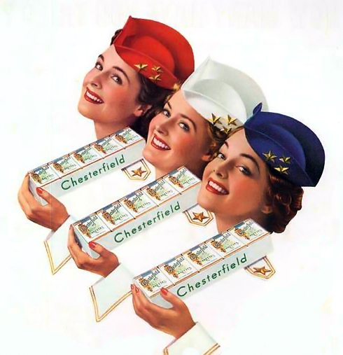 Chesterfield cigarette ad, WWII era