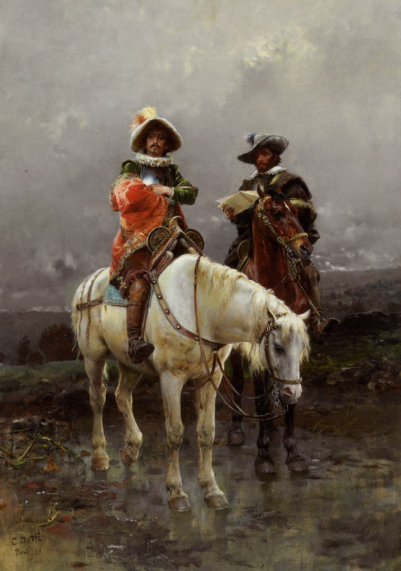 A Cavalier on a White Horse by Cesare Augusto Detti, 1890