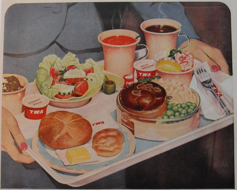 TWA airline food service, early 1950s
