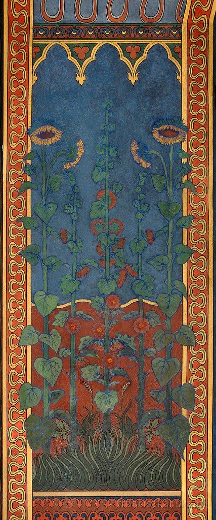 Art Nouveau – Hollyhocks andSunflowers