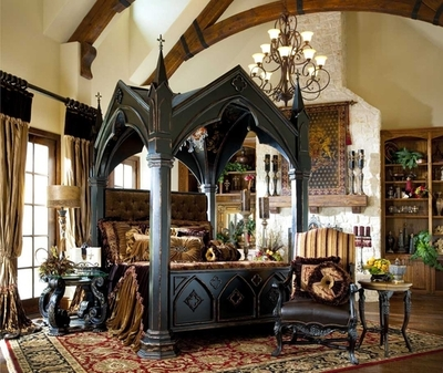Gothic four-poster bed
