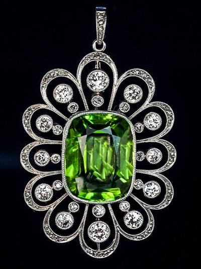 Russian Peridot & Diamond Pendant