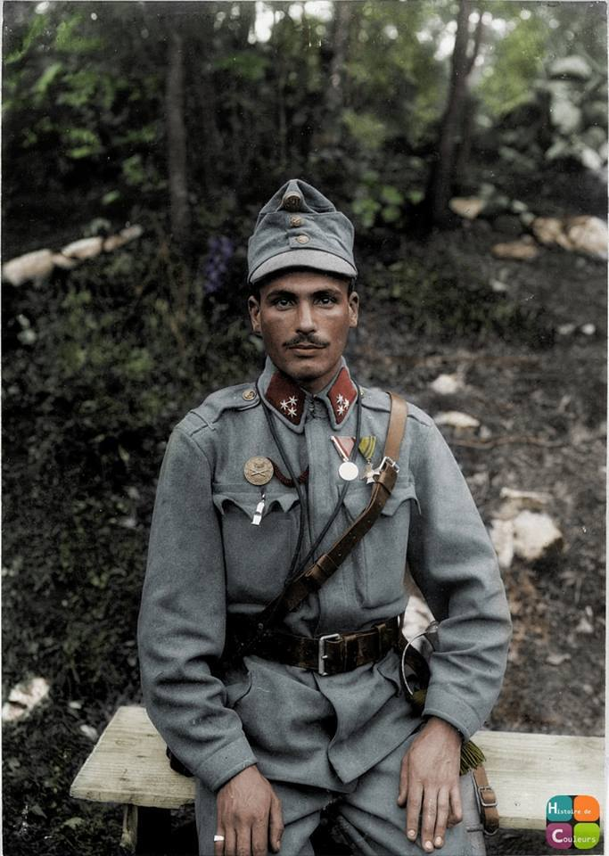 Colourized photo of Károly Szigeti, an artilleryman in the Austro-Hungarian 5th Army on the Iszono Front in 1915