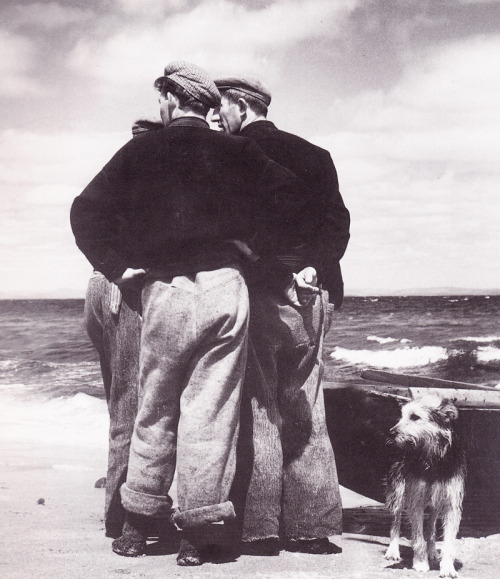 Two men and a dog on the shore
