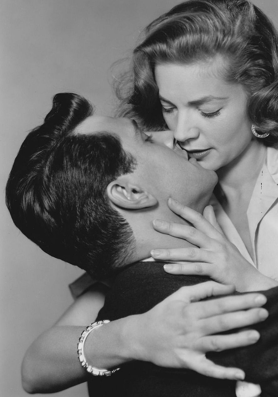 """Lauren Bacall and Rock Hudson in a promo shot for """"Written in the Wind"""",1956"""