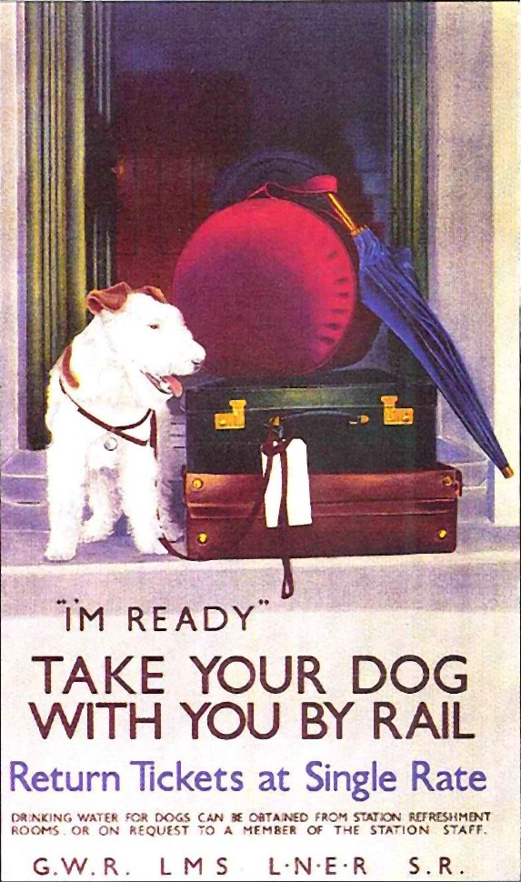 Take your dog with you by rail, UK, 1930s