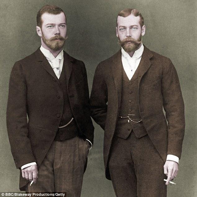 Nicholas II (Russia) and George V (UK),colourized