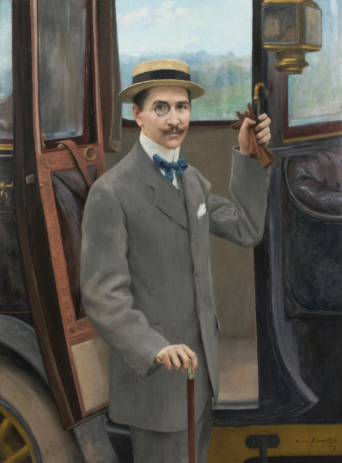 """""""A Young Man by a Carriage"""" by Pierre André Brouillet,1909"""
