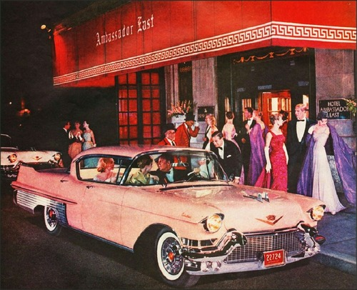 Pink 1957 Cadillac at the Ambassador East