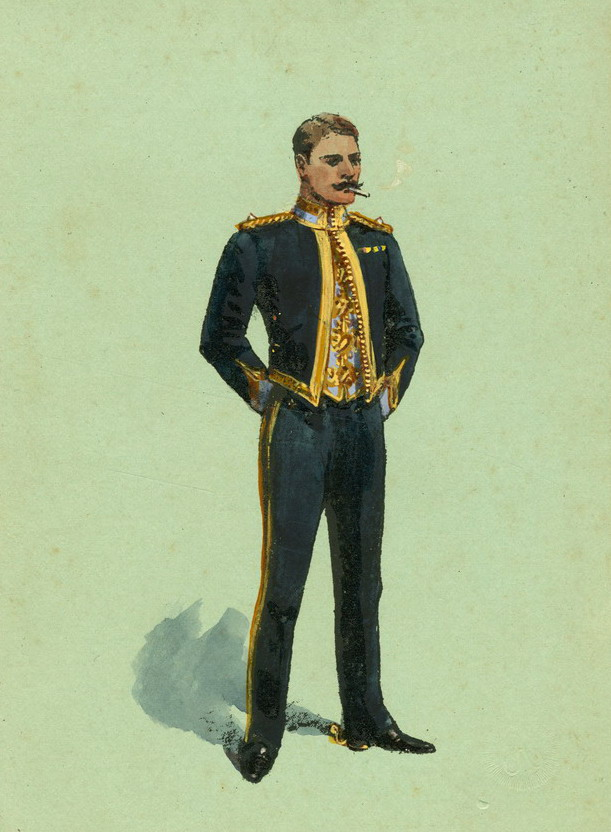21st (Empress of India's) Lancers Officer Mess Dress by Richard Simkin, 1901