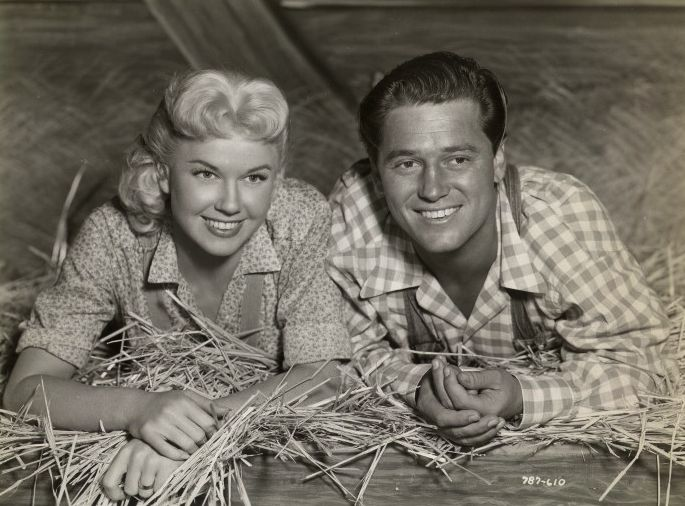 Doris Day and ? in a hayloft