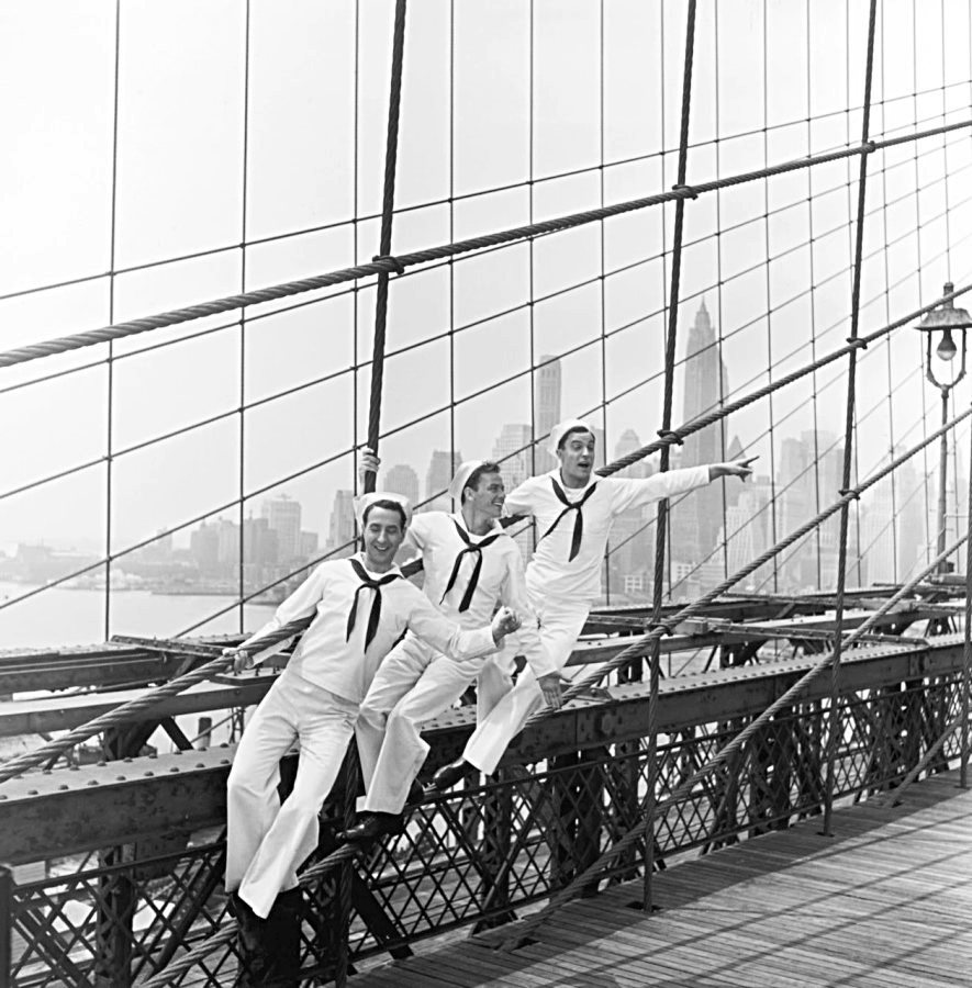 "?, Frank Sinatra, and Gene Kelly in ""On the Town"", 1949"