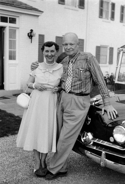 President and Mrs. Eisenhower on their 38th wedding anniversary. July 1, 1955
