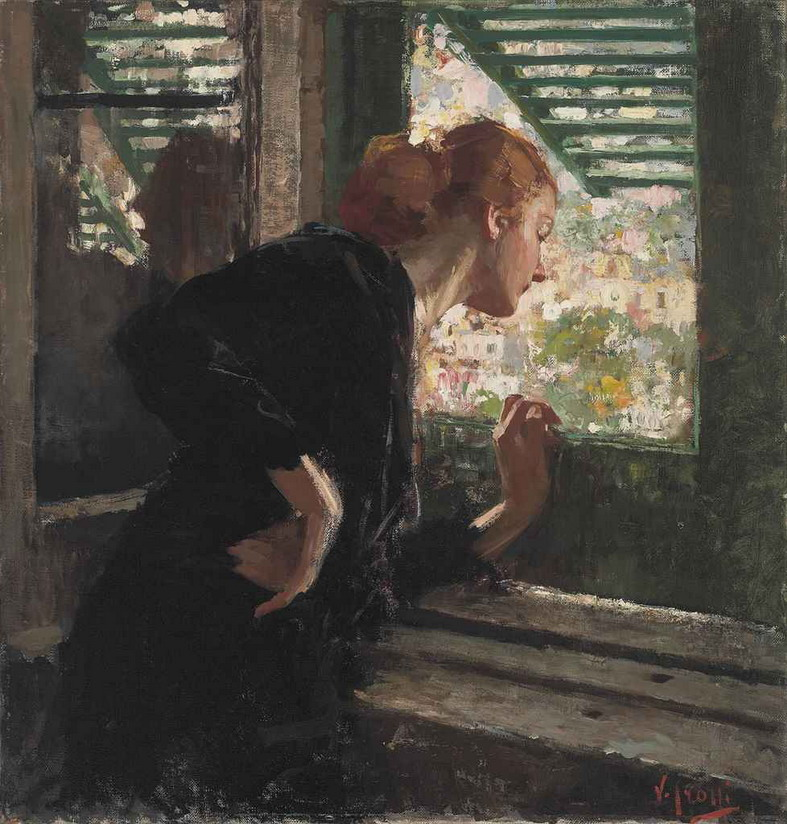 """Lady at a Window"" by Italian painter Vincenzo Irolli"