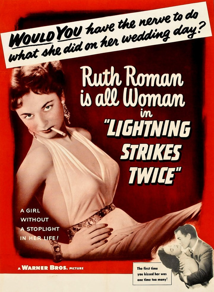 """A girl without a stoplight in her life… Ruth Roman in """"Lightning StrikesTwice"""""""