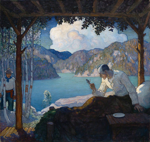N C Wyeth – Man with butterfly receives a visitor