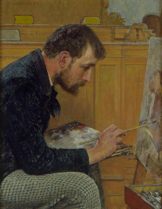 """Portrait of an Artist in Profile"" by Fritz Strobentz,1884"