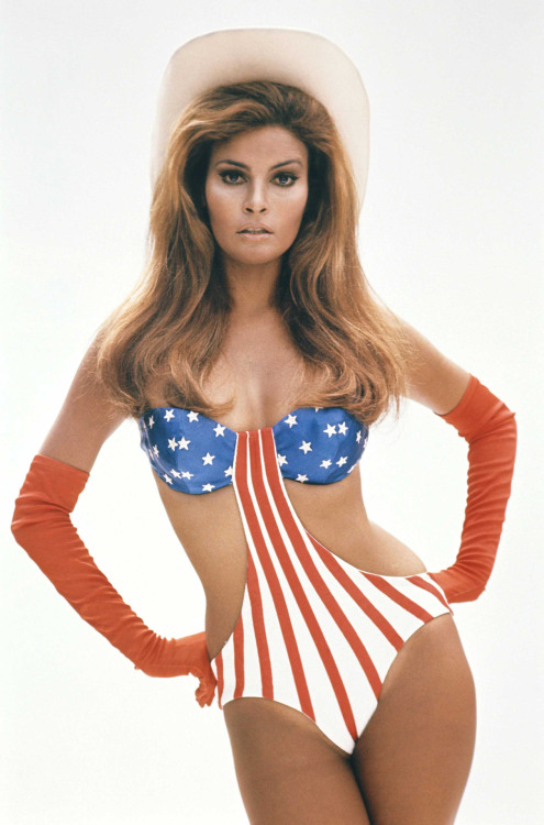American actress Raquel Welch wearing a stars and stripes suit in Myra Breckinridge, a American comedy film based on Gore Vidal's novel and directed by Michael Sarne, with Raquel Welch in the title role, in 1970.