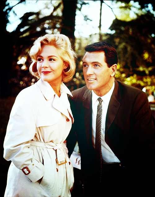 Sandra Dee and Rock Hudson on the set of Come September (c. 1960)