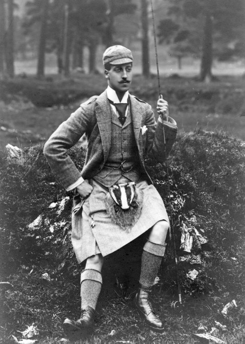 Prince Albert Victor in a fetching wool skirt, furry crotch warmer, and beanie whilst on a fishingtrip