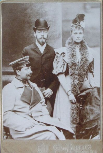 Russian Tsar Nicholas II and his wife Empress Alexandra with her cousin German Kaiser Wilhelm II, obviously prior to WWI