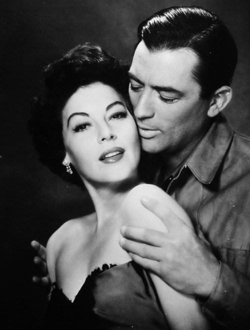 "Ava Gardner and Gregory Peck in a promo shot for ""The Snows of Kilimanjaro"""