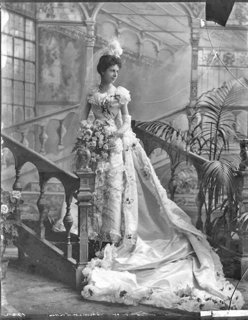 Baroness Christine Marie Ludmilla von Linden in court presentation dress,1898