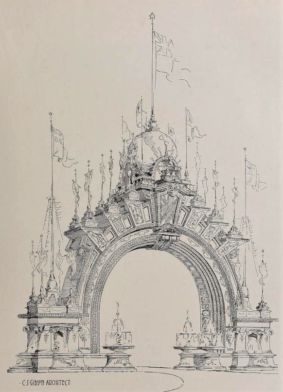 Plans for an arch to celebrate a British royal visit to Toronto, circa 1900