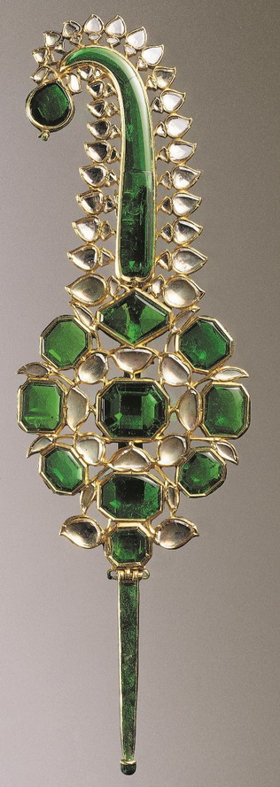 Turban Ornament with Emeralds & Diamonds