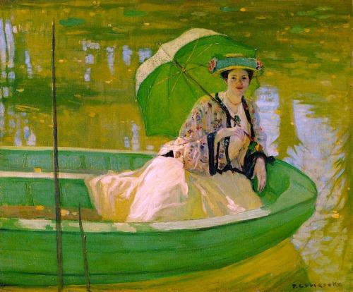 frederick-carl-frieseke-lady-with-a-parasol-1908