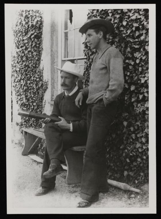 Glass negative showing Henry Scott Tuke and Johnny Jackett outside Tuke's house at Pennance [c 1896] Photographer Unknown null An initial donation of the papers of Tuke and Gotch was made to the Tate Archive by Mr Brian D. Price in 1990.  Additional donations of related material were made in 1991, 1994 and 2002.   http://www.tate.org.uk/art/archive/TGA-9019-1-4-2-10-1