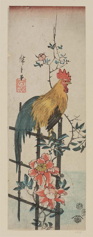 "Japanese Art: ""Rooster on Wild Rose Trellis"" by Utagawa Hiroshige, 1854"
