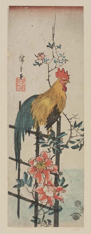 japanese-art-rooster-on-wild-rose-trellis-edo-period-1854-woodblock-print-by-utagawa-hiroshige