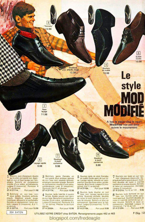 Men's Mod Shoes from Eaton's, Montreal,1960s