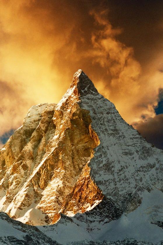Golden craggy peak