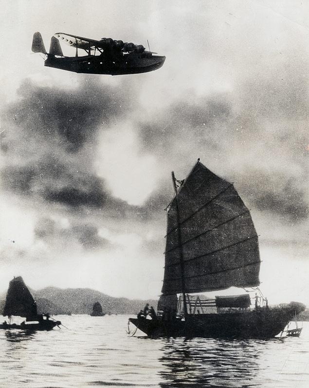 Pan Am Clipper over Hong Kong Harbor,1930s