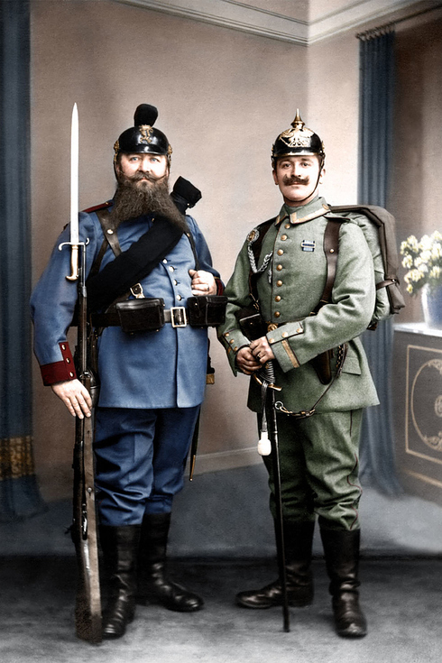 Two Prussian Soldiers, pre-WWI, colurized