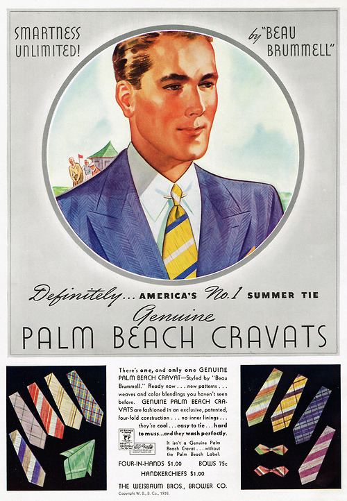 Smartness unlimited with Palm Beach Cravats, 1930s