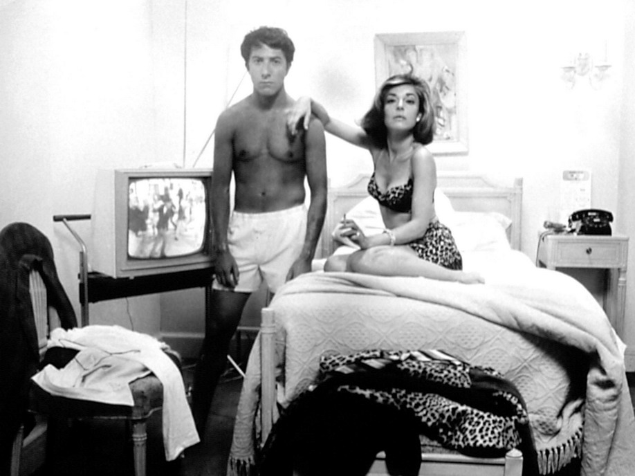 "Dustin Hoffman and Anne Bancroft in their underwear, ""The Graduate"""