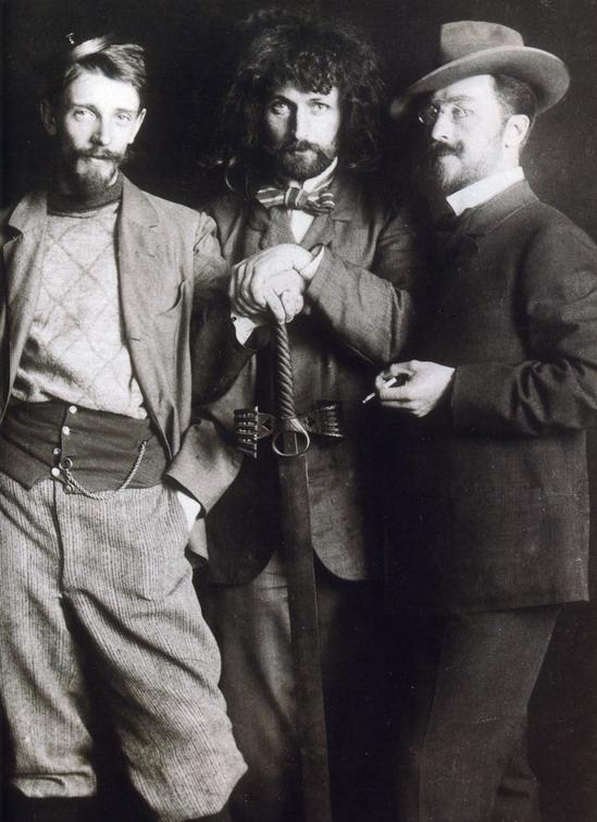 Russian painter and art theorist Vasily Kandinsky (far right) andfriends