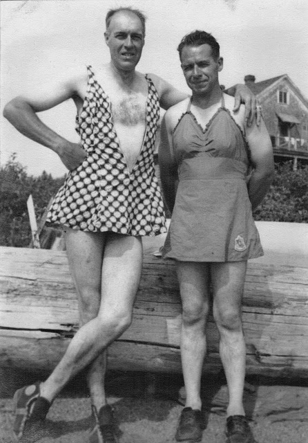 Vintage cross-dressers at the beach