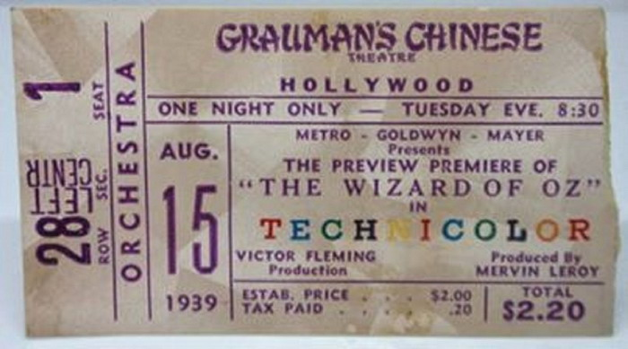 """Ticket to the Preview Premiere of """"The Wizard of Oz"""", August1939"""