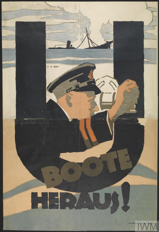 U Boote Heraus! [The U-boats Are Out!] (Art.IWM PST 0515) image: Within the shape of a large black letter 'U' emerge the head and shoulders of a U-boat commander, identified by his cap and jacket, who peers into the sights of a periscope toward the right of the poster. Beneath and beyond the 'U' shape are grey waves. On the horizon is the dark outline of a ship, broken in two and sinking, a cloud of white smoke rising from the wreck. Behind it can be tra... Copyright: © IWM. Original Source: http://www.iwm.org.uk/collections/item/object/8638