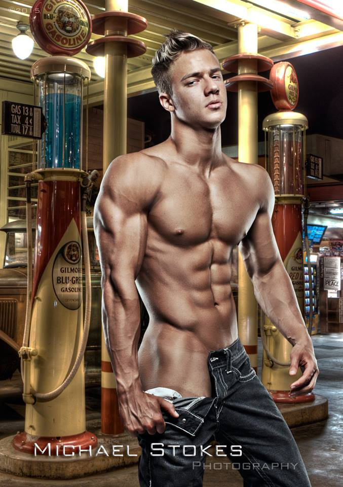 Gratuitous Shirtless Blond Model, at a gas station, by Michael Stokes